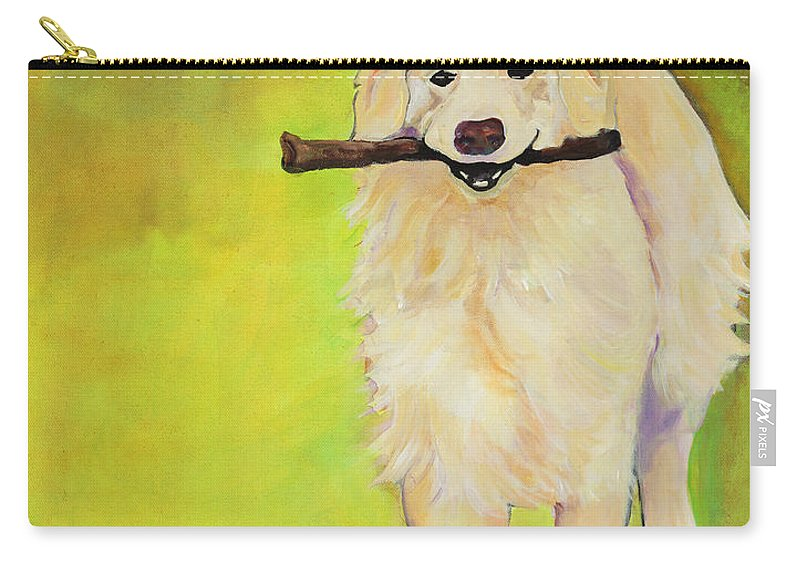 Dog Portraits Carry-all Pouch featuring the painting Stick Together by Pat Saunders-White