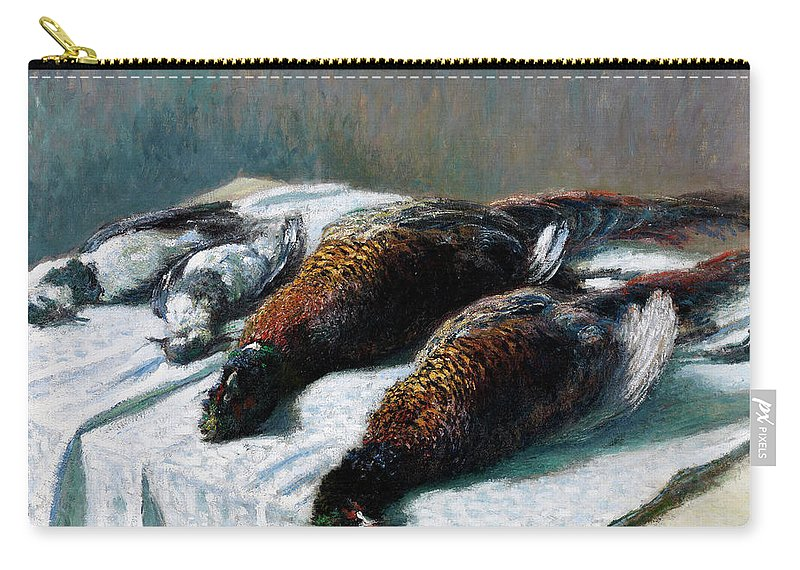 Still Life Carry-all Pouch featuring the painting Still Life With Pheasants And Plovers by Claude Monet