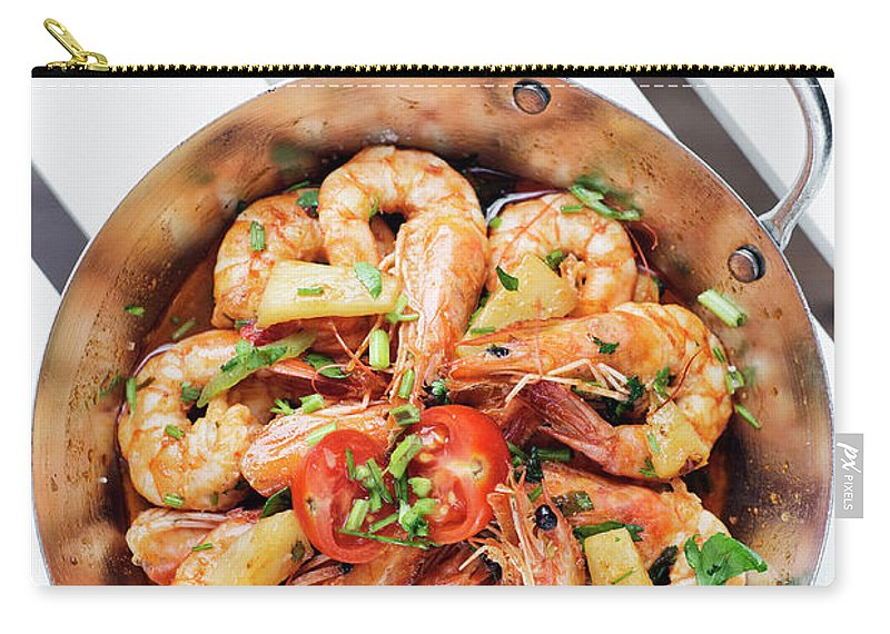 Asia Carry-all Pouch featuring the photograph Stir Fry Prawns In Spicy Asian Pineapple And Herbs Sauce by Jacek Malipan