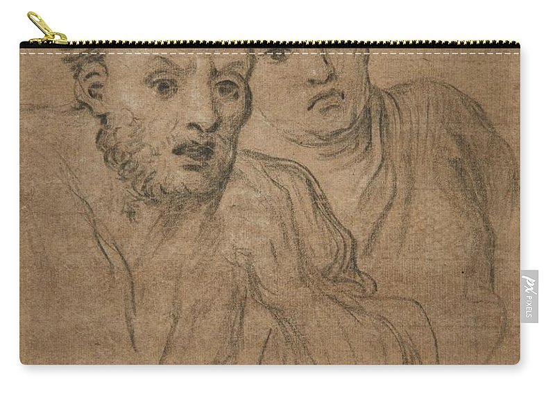 French School Carry-all Pouch featuring the painting Studies Of Two Male Heads by MotionAge Designs