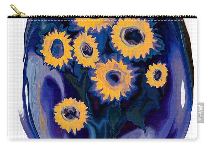 Art Carry-all Pouch featuring the digital art Sunflower 1 by Rabi Khan