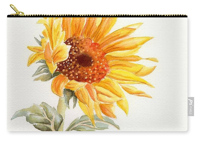 Sunflower Carry-all Pouch featuring the painting Sunflower by Deborah Ronglien