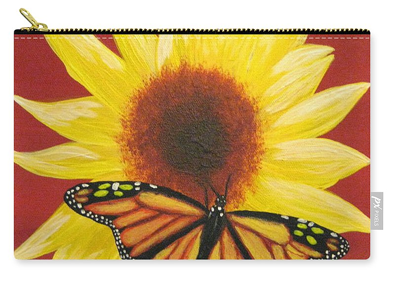 Sunflower Carry-all Pouch featuring the painting Sunflower Monarch by Debbie Levene