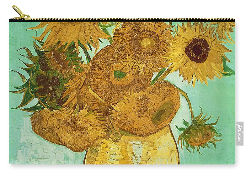 Sunflowers Carry-all Pouch featuring the painting Sunflowers by Van Gogh by Vincent Van Gogh
