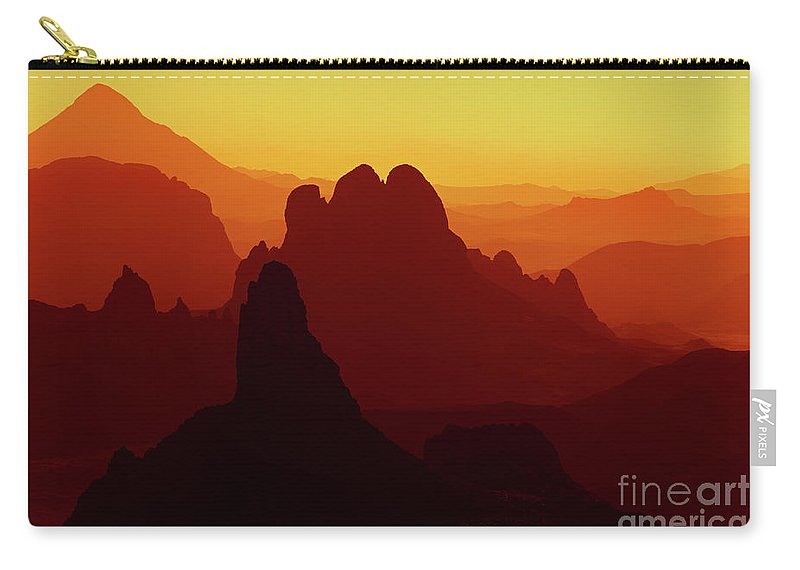 Abstract Carry-all Pouch featuring the photograph Sunrise In Sahara Desert by Dmitry Pichugin