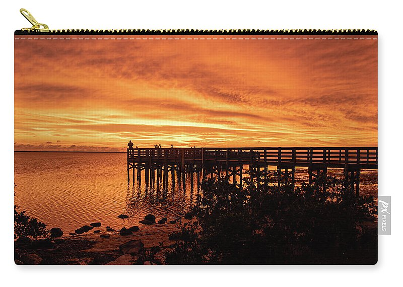 Sunset Carry-all Pouch featuring the photograph Sunset At The Pier by Suzanna Ruby