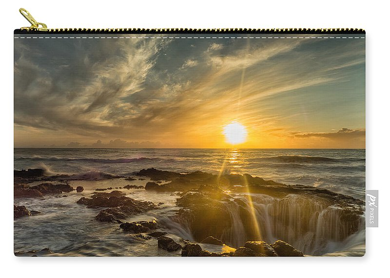 Cape Perpetua Carry-all Pouch featuring the photograph Sunset At Thor's Well by Dan Leffel