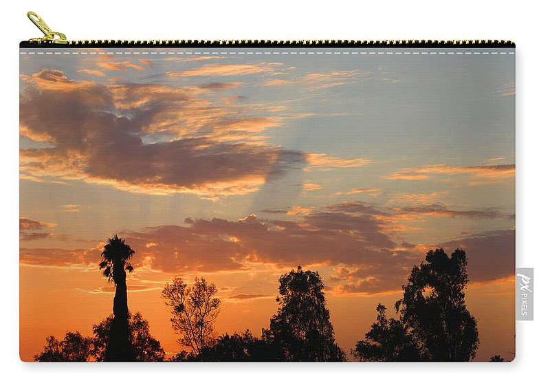 Sunset. Moreno Valley Carry-all Pouch featuring the photograph Sunset Moreno Valley Ca by Tommy Anderson