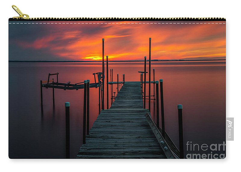 Sunset Carry-all Pouch featuring the photograph Sunset On The Bay by Randy Kostichka
