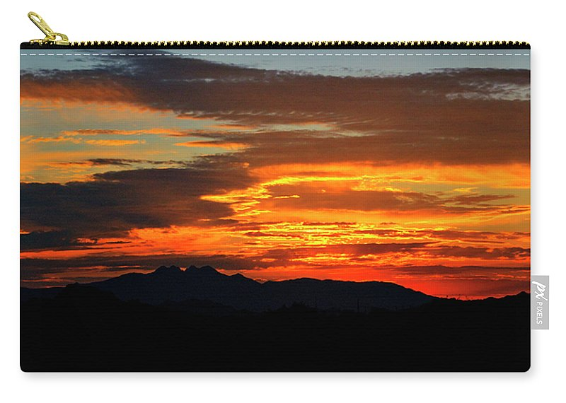 Sunrise Carry-all Pouch featuring the photograph Superstition Sunrise by Saija Lehtonen