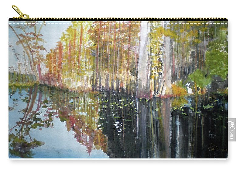 Landscape Of A South Florida Swamp At Dusk Feels Very Wild Carry-all Pouch featuring the painting Swamp Reflection by Hal Newhouser