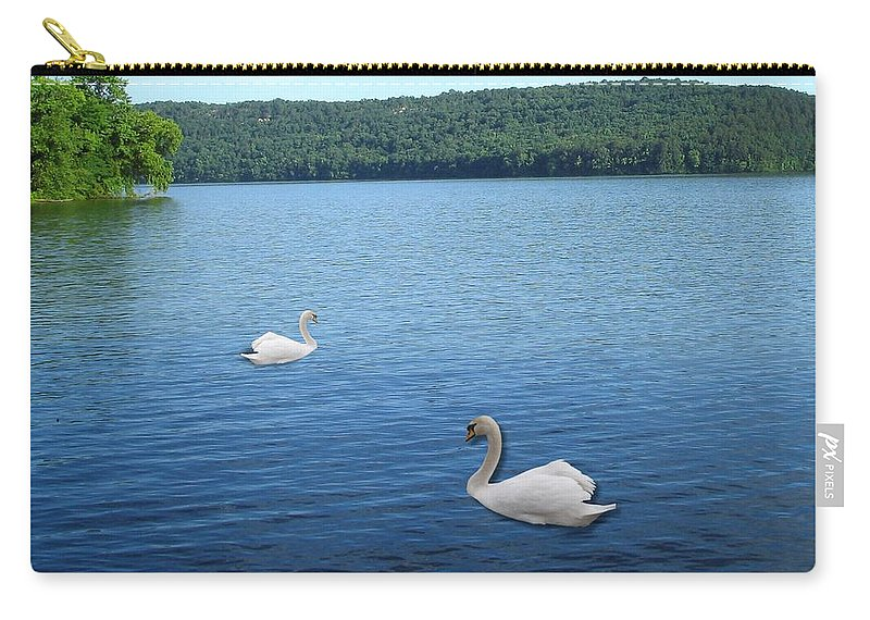 Swan Carry-all Pouch featuring the digital art Swan Lake by Teresa Peterson