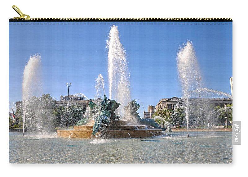 Swann Carry-all Pouch featuring the photograph Swann Fountain - Center City Philadelphia by Bill Cannon