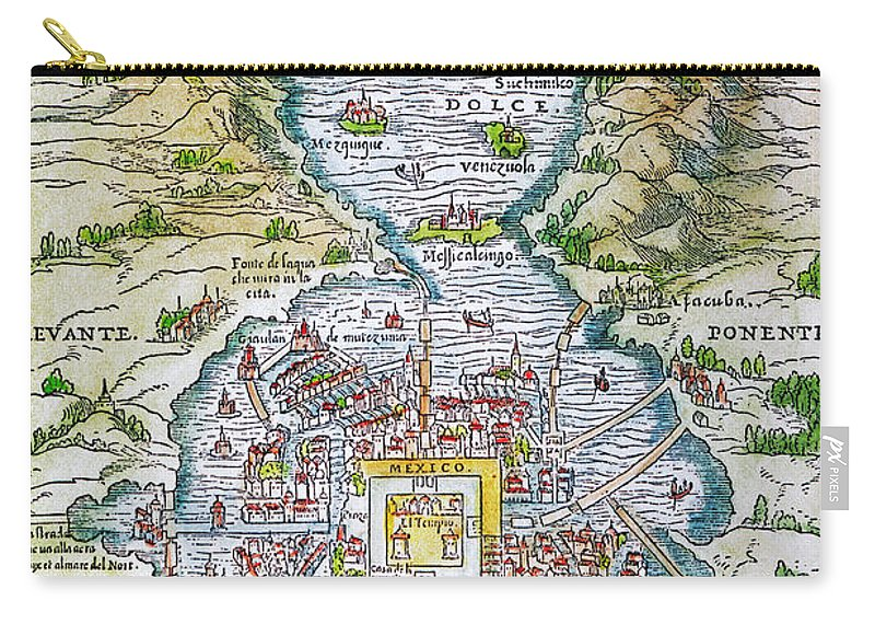 1556 Carry-all Pouch featuring the photograph Tenochtitlan (mexico City) by Granger