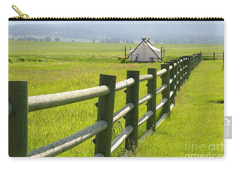 Canvas Carry-all Pouch featuring the photograph Tent Living Montana by Diane Greco-Lesser