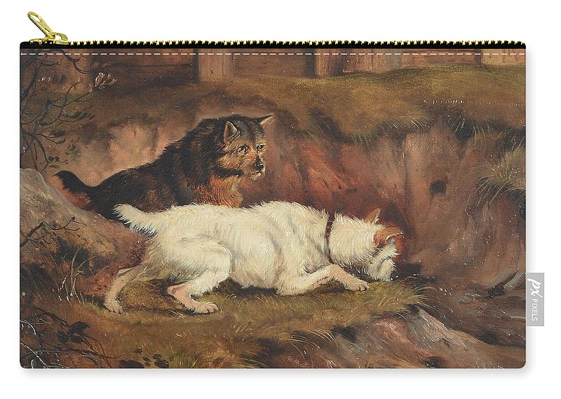 Alfred Wheeler () Terriers Ratting Carry-all Pouch featuring the painting Terriers Ratting by Alfred Wheeler