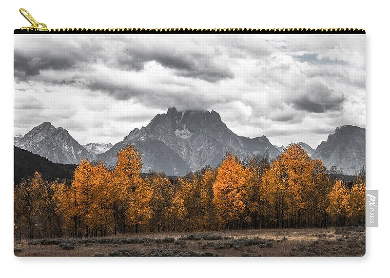 Mountain Carry-all Pouch featuring the photograph Teton Fall - Modern View Of Mt Moran In Grand Tetons by Southern Plains Photography