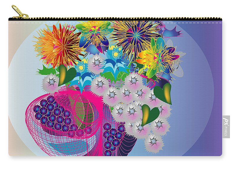 Flowers Carry-all Pouch featuring the digital art The Arrangement by George Pasini