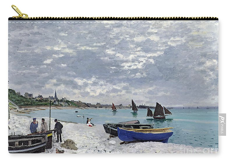 Coastal;french;rowing Boat;sailing;sainte Adresse; Boats Carry-all Pouch featuring the painting The Beach at Sainte Adresse by Claude Monet