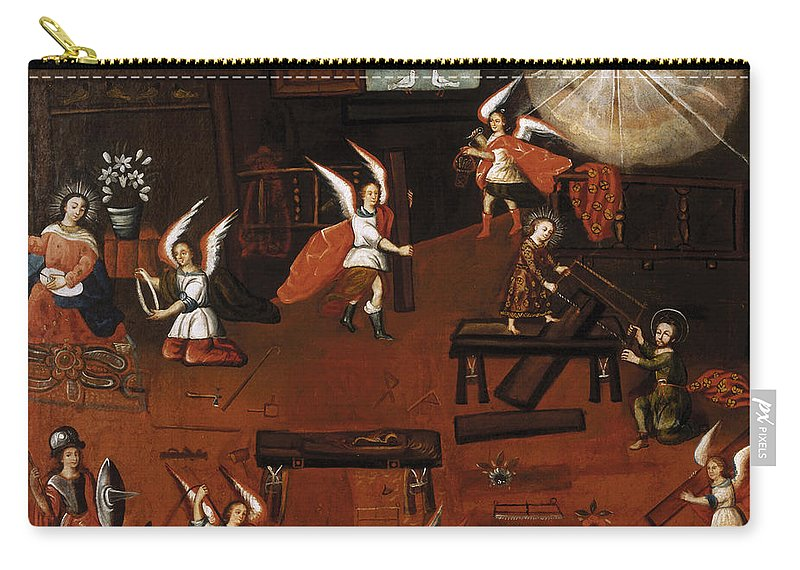 Painting Carry-all Pouch featuring the painting The Carpenter's Shop In Nazareth by Mountain Dreams