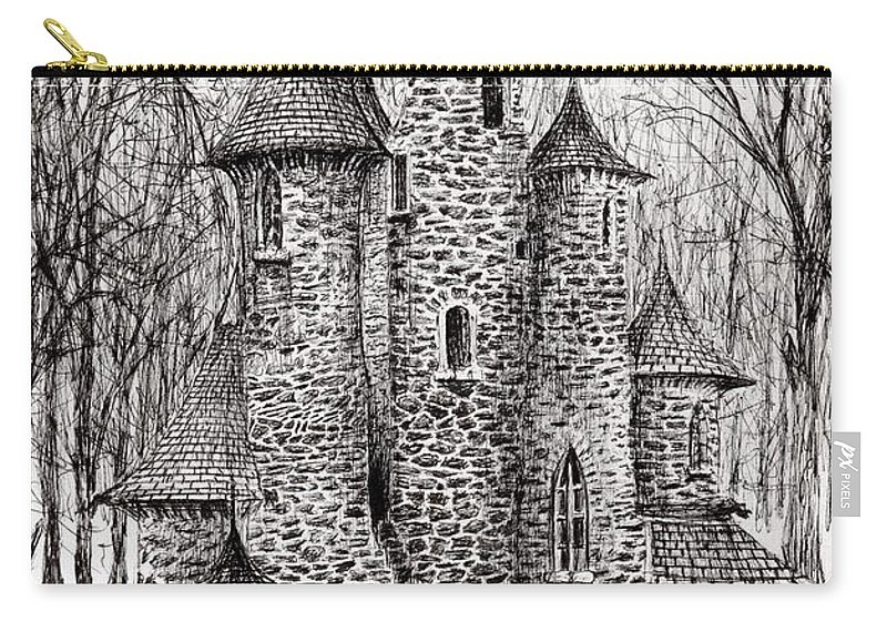 Black And White Carry-all Pouch featuring the drawing The Castle In The Forest Of Findhorn by Vincent Alexander Booth