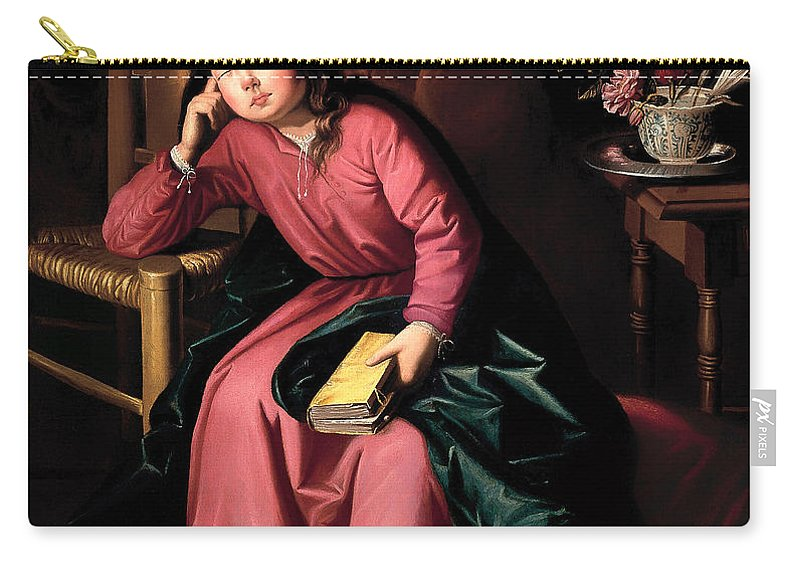 Painting Carry-all Pouch featuring the painting The Child Virgin Asleep by Mountain Dreams