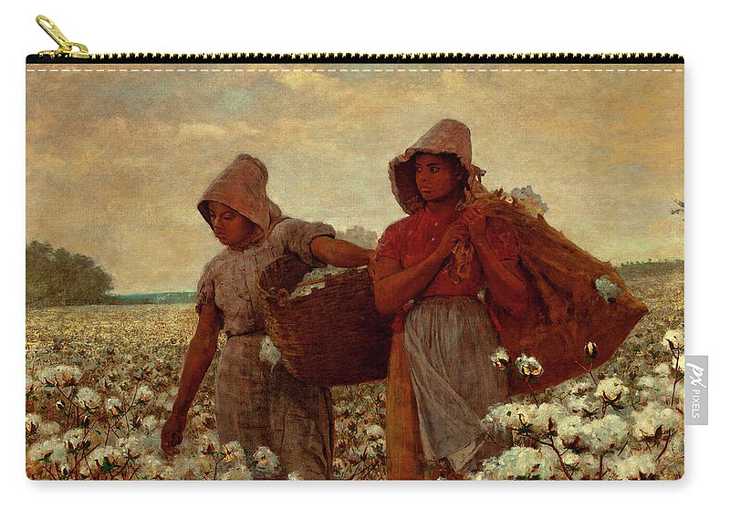 The Cotton Pickers Carry-all Pouch featuring the painting The Cotton Pickers by Winslow Homer