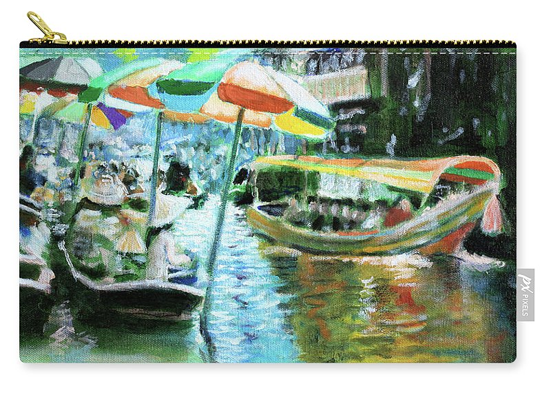 Colorful Umbrellas Carry-all Pouch featuring the painting The Floating Market by David Zimmerman