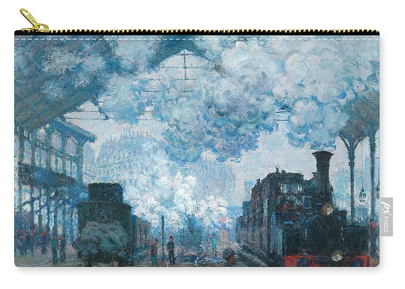 Trains Carry-all Pouch featuring the painting The Gare Saint-lazare Arrival Of A Train by Claude Monet