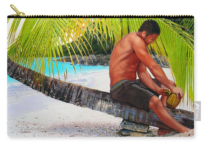Male Figure Carry-all Pouch featuring the painting The Gatherer by Denny Bond