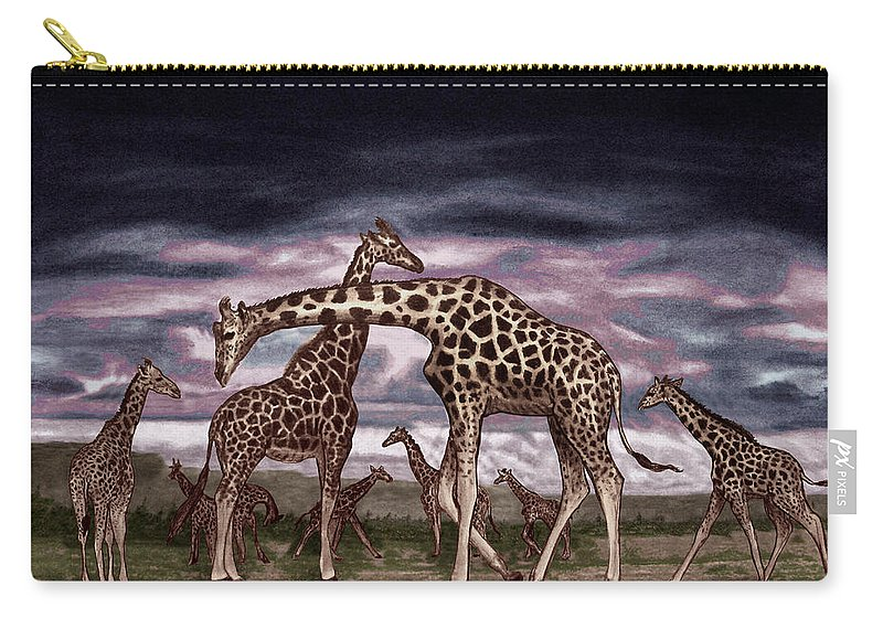 The Herd Carry-all Pouch featuring the drawing The Herd by Peter Piatt