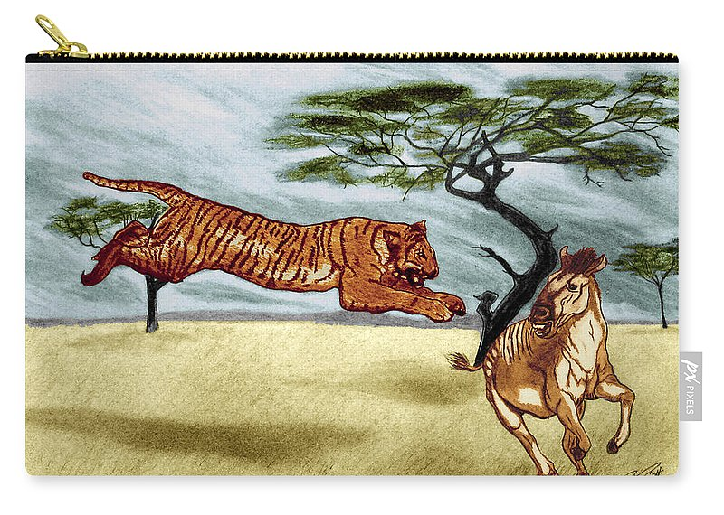 The Lunge Carry-all Pouch featuring the drawing The Lunge by Peter Piatt