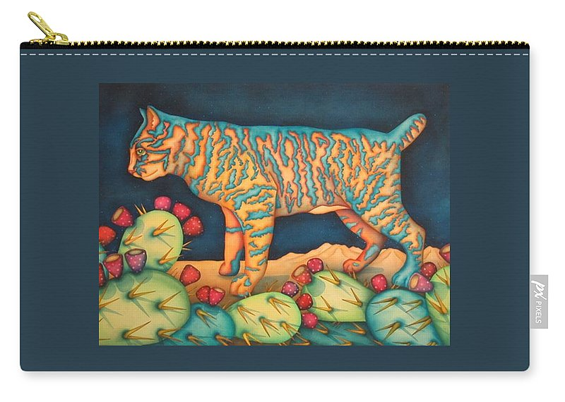 Cat Carry-all Pouch featuring the painting The Moon The Mountains Cacti A Cat by Jeniffer Stapher-Thomas