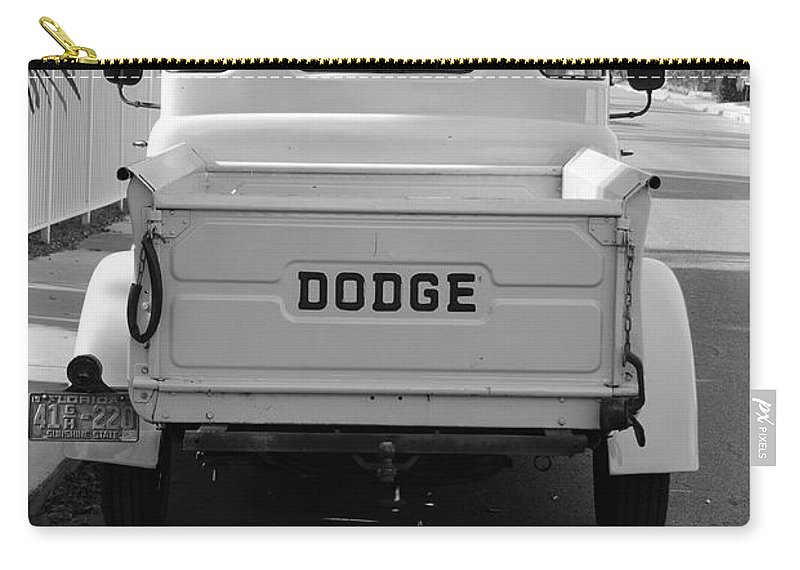Black And White Carry-all Pouch featuring the photograph The Old Dodge by Rob Hans