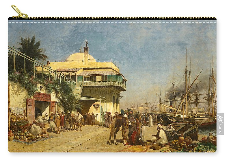 Alfred Wordsworth Thompson Carry-all Pouch featuring the painting The Port Of Algiers by Alfred Wordsworth Thompson