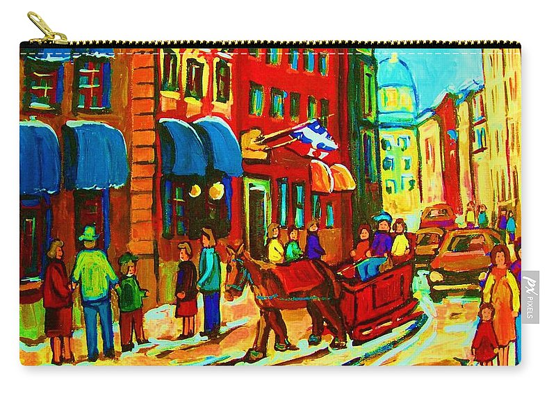 Montreal Carry-all Pouch featuring the painting The Red Sled by Carole Spandau
