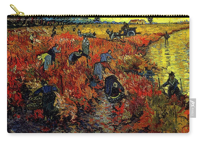 Vincent Van Gogh Carry-all Pouch featuring the painting The Red Vineyard At Arles by Vincent Van Gogh