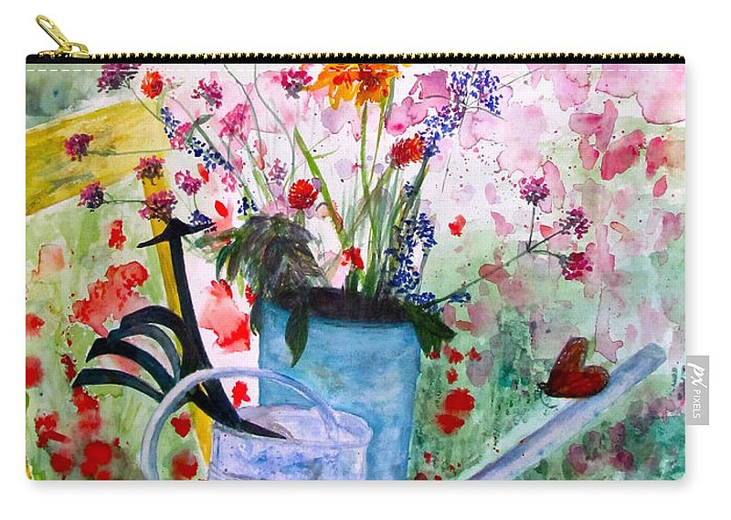 Butterfly Carry-all Pouch featuring the painting The Resting Place by Beth Saffer