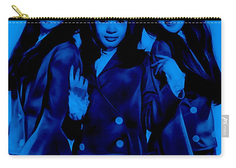 The Ronettes Carry-all Pouch featuring the mixed media The Ronettes Collection by Marvin Blaine