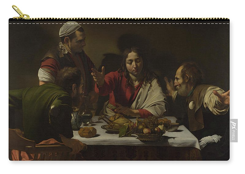 Caravaggio Carry-all Pouch featuring the painting The Supper At Emmaus by Caravaggio
