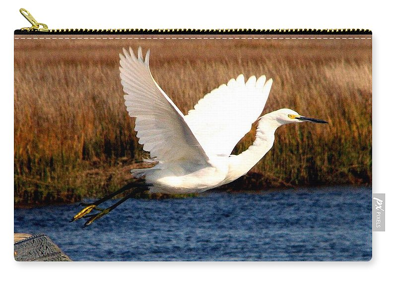 Egret Carry-all Pouch featuring the photograph The Takeoff by J M Farris Photography