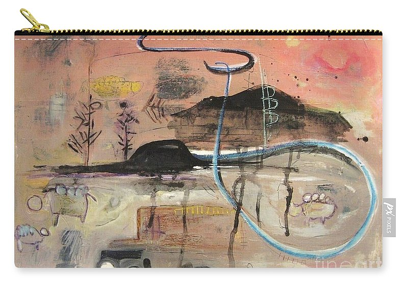 Acrylic Paper Canvas Abstract Contemporary Landscape Dusk Twilight Countryside Carry-all Pouch featuring the painting The Tempo Of A Day by Seon-Jeong Kim