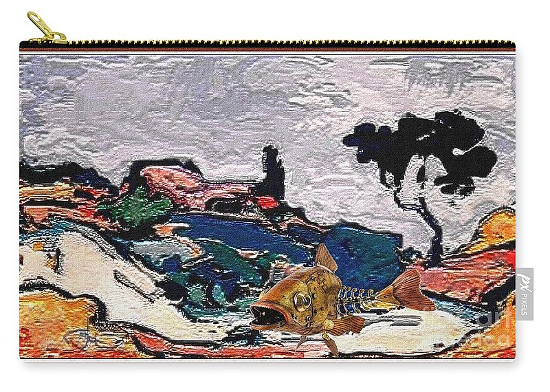 Modern Painting Carry-all Pouch featuring the mixed media The Unimaginable Dream Of The Fish 22 by Pemaro