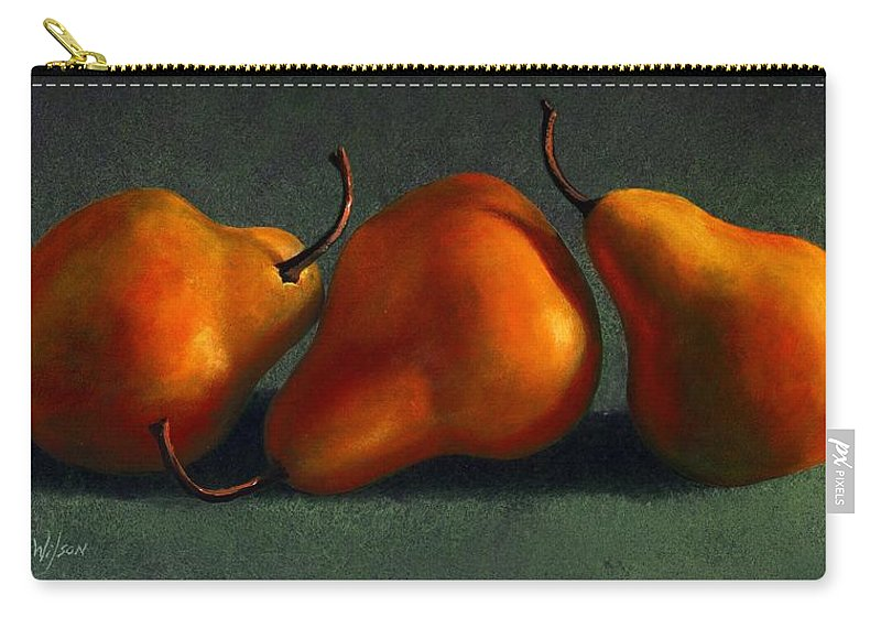 Still Life Carry-all Pouch featuring the painting Three Golden Pears by Frank Wilson