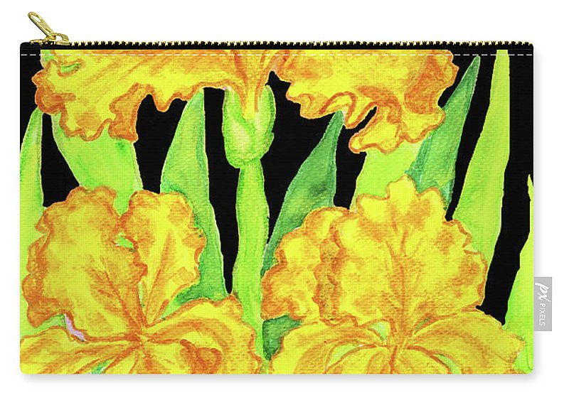 Iris Carry-all Pouch featuring the painting Three Yellow Irises, Painting by Irina Afonskaya