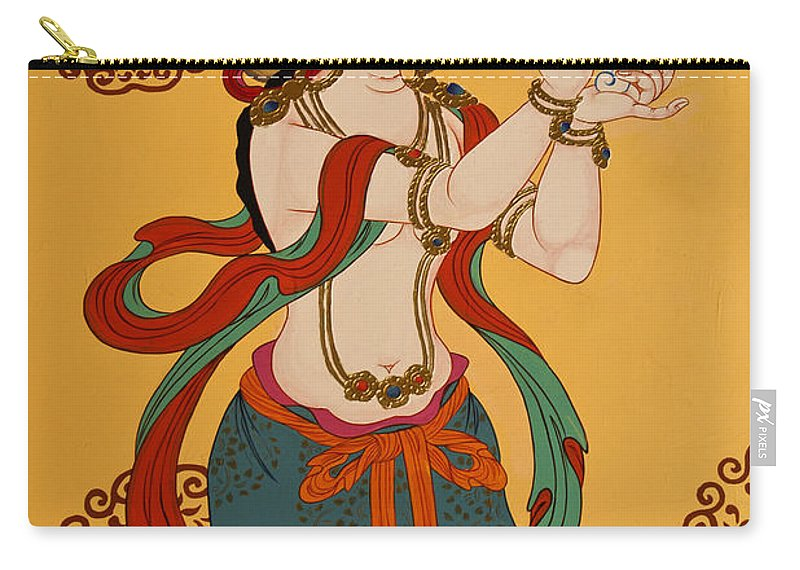 Asia Carry-all Pouch featuring the photograph Tibetan Buddhist Mural by Michele Burgess