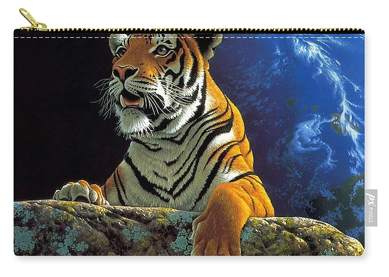 Tiger Carry-all Pouch featuring the digital art Tiger by Dorothy Binder