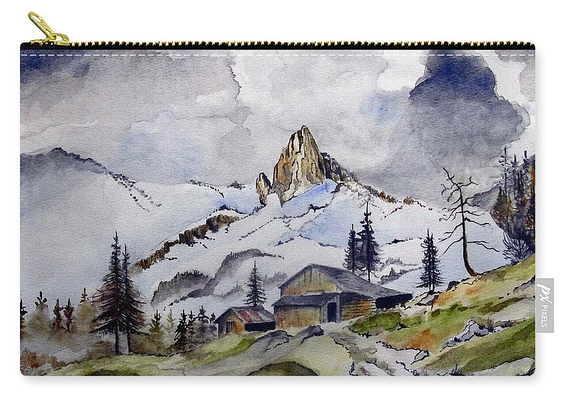 Cabin Carry-all Pouch featuring the painting Tigers Tooth Peak by Jimmy Smith