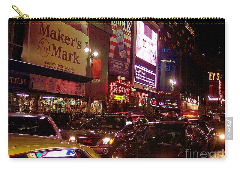 New York Carry-all Pouch featuring the photograph Times Square Night by Debbi Granruth