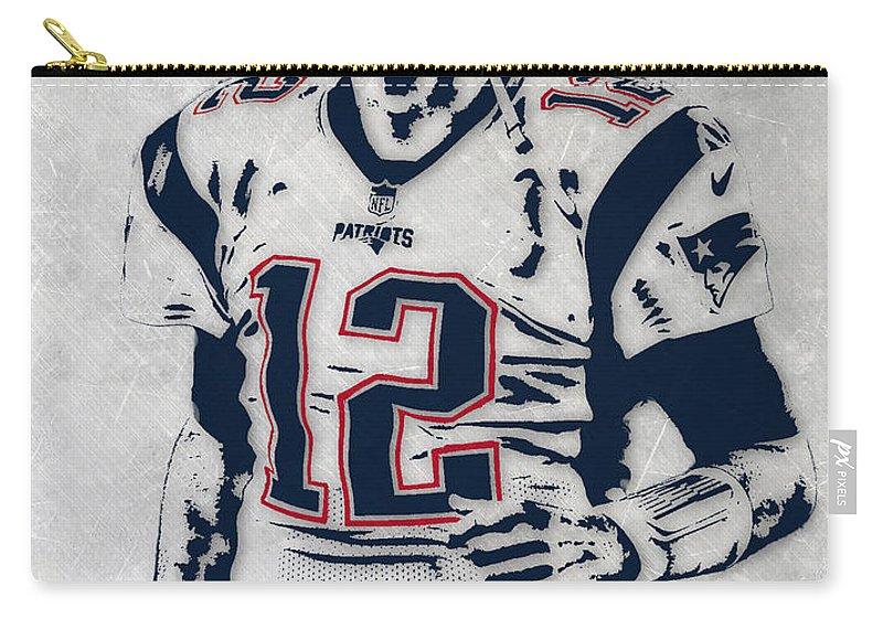 Tom Brady Carry-all Pouch featuring the mixed media Tom Brady New England Patriots Pixel Art 5 by Joe Hamilton